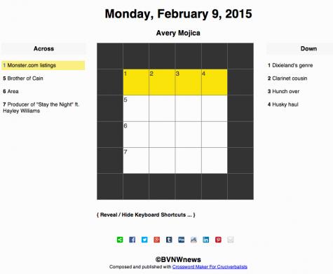 Monday, February 9, 2015 crossword