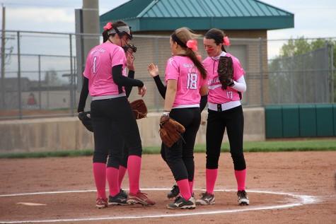 Varsity softball wins Pink Out 11-4