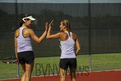 Girls varsity tennis beats Bishop Miege, 10-2.