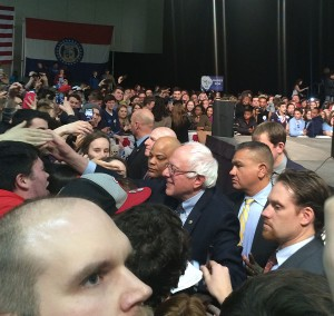 Sanders greets his supporters after the rally. He shook hands and signed autographs for about 15 minutes.