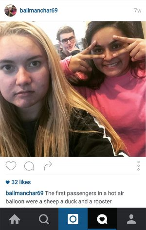 Senior Emily Ball's finsta post from her shared account with Peter Hartman and Surabhi Khachar.