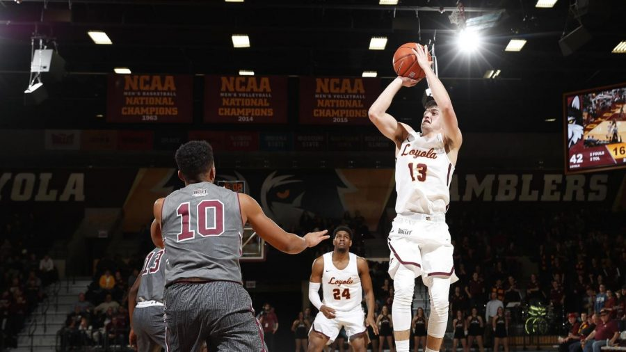 Loyola+redshirt+junior+guard+Clayton+Custer+%2813%29+earned+Missouri+Valley+Conference+Player+of+the+Year+honors.+Custer+leads+the+Ramblers+in+scoring%2C+3-point+percentage%2C+assists+and+steals.+