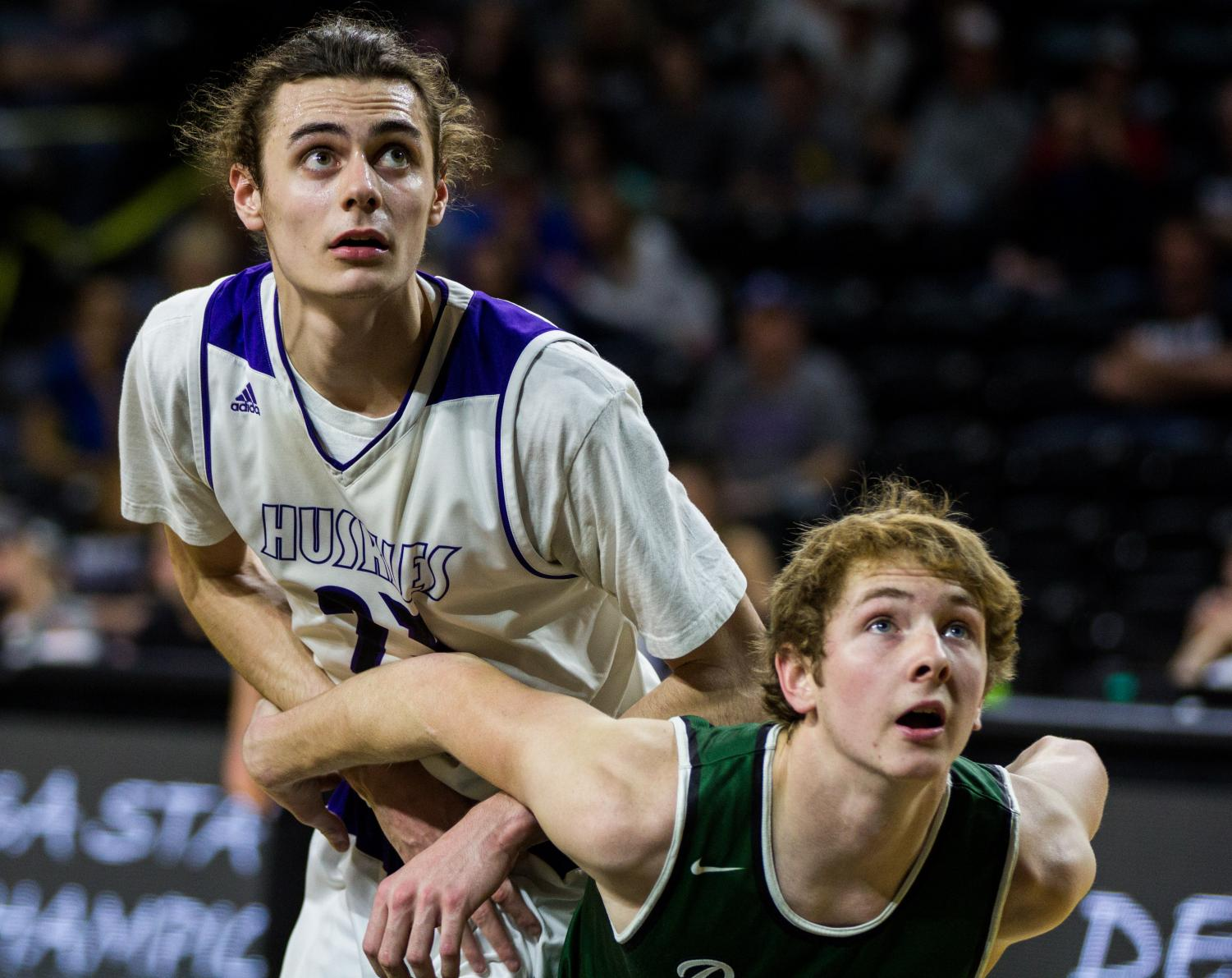 Blue Valley Northwest senior forward Parker Braun (23) watches a free throw attempt during the first half of the Huskies matchup with Derby at Charles Koch Arena. The Huskies defeated the Panthers, 82-61.